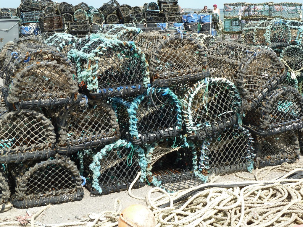 Lobster pots stacked on the Key.