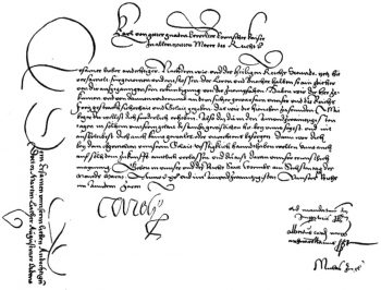 Summons for Luther to appear at the Diet of Worms, signed by Charles V. The text on the left was on the reverse side. Published in book authored by Bernhard Rogge.